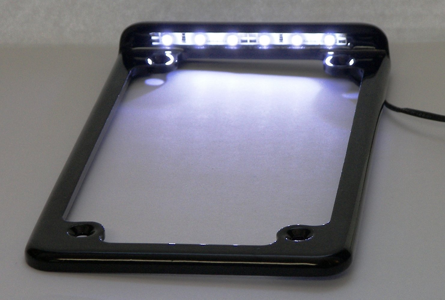 Complete LED Vertical Motorcycle License Frame LED 3'' (Black)