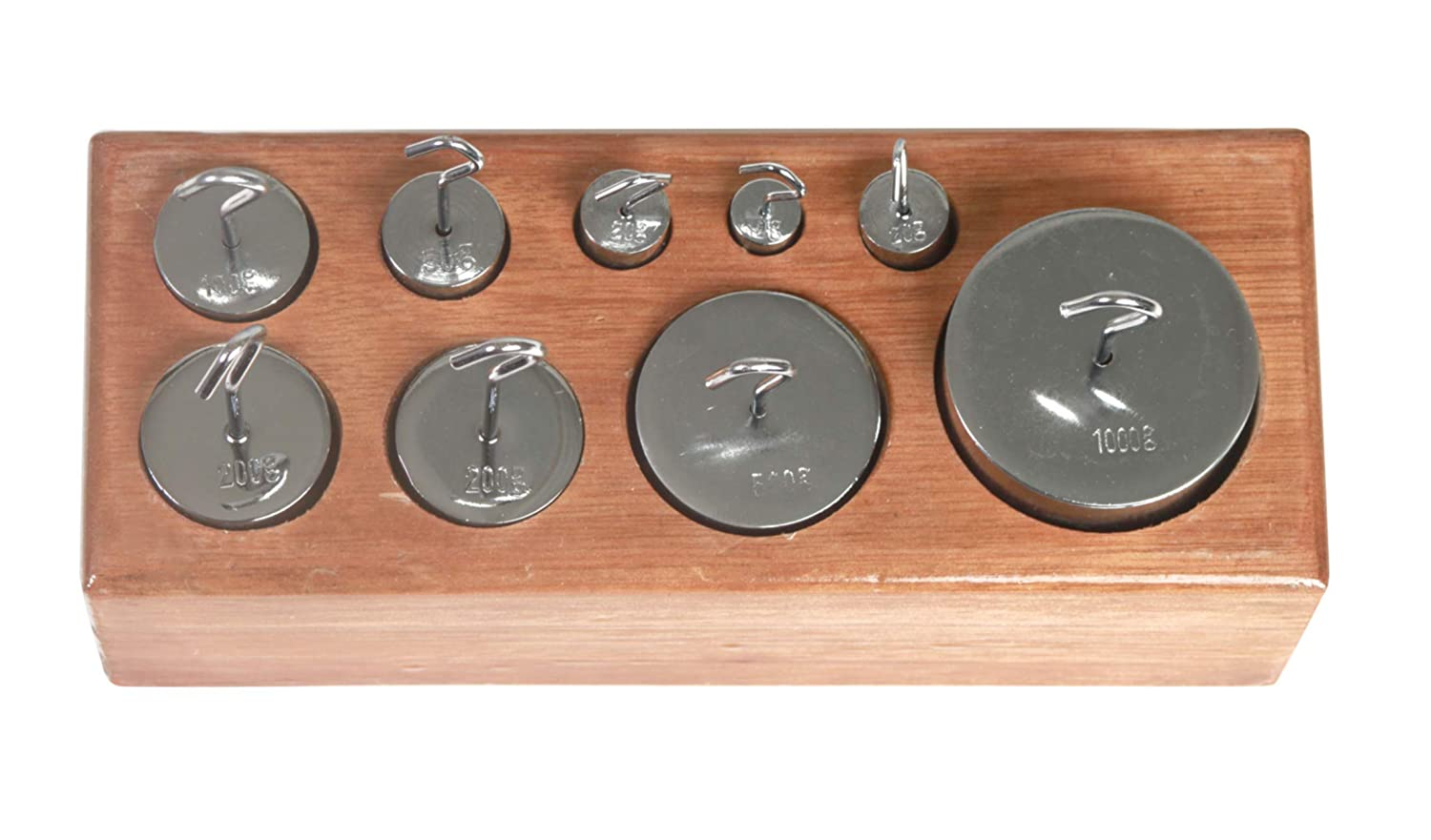 Metric American Educational Nickel-Plated Brass Hooked Weight Set