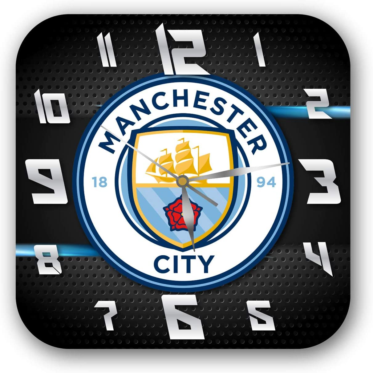 mV Manchester City 11'' Handmade Wall Clock - Get Unique décor for Home or Office – Best Gift Ideas for Kids, Friends, Parents and Your Soul Mates