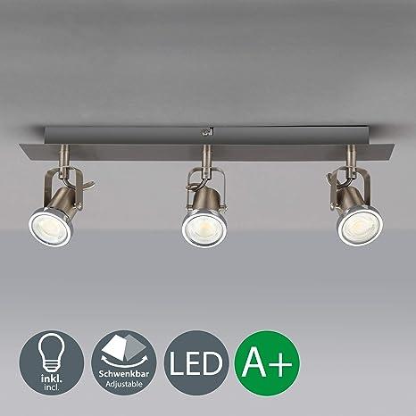 Lámpara de techo orientable con 3 focos I incl. 3 bombillas de 5 WI Focos flexibles I Plafón moderna para salón I GU10