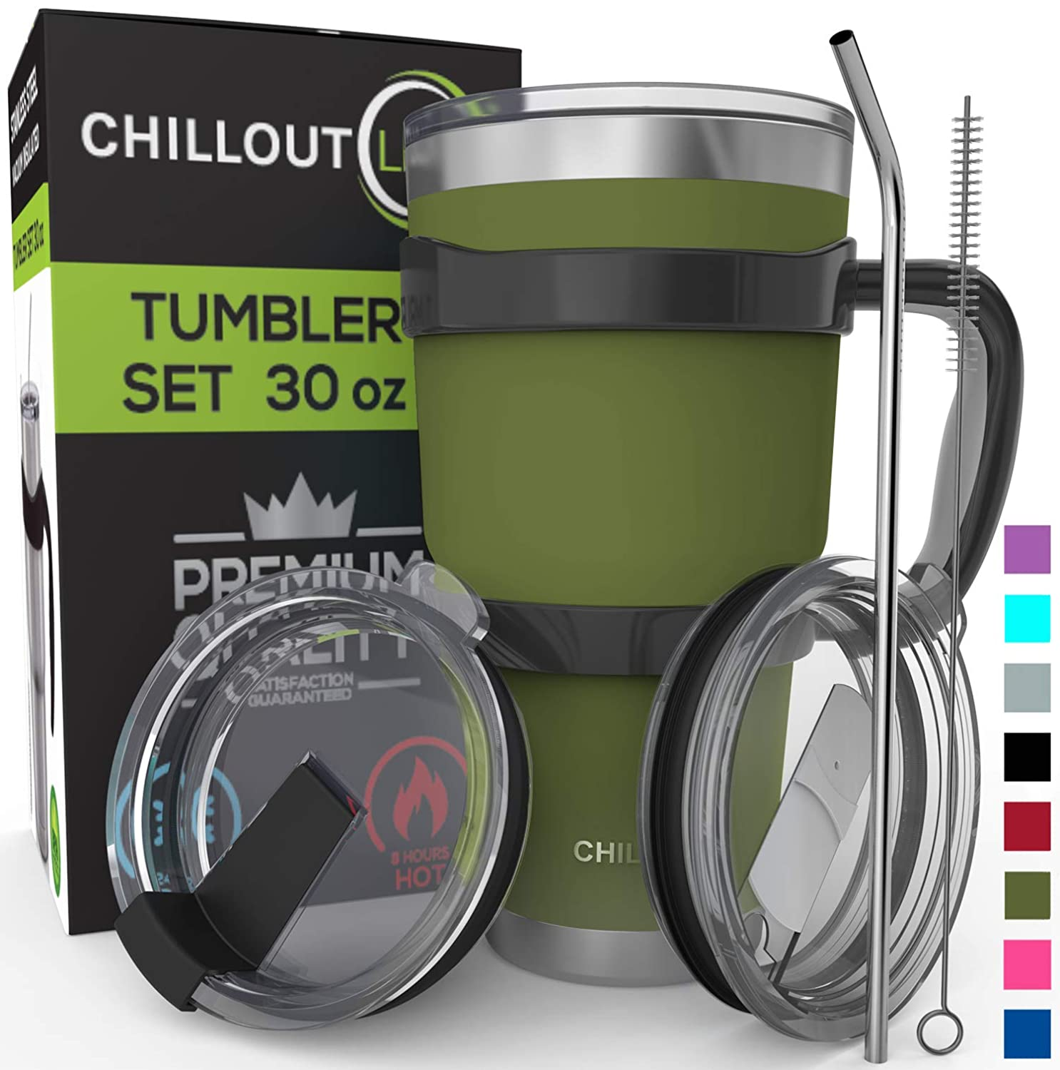 Stainless Steel Travel Mug with Handle 30oz - 6 Piece Set. Tumbler with Handle, Straw, Cleaning Brush & 2 Lids. Double Wall Insulated Large Coffee Mug Bundle - Army Gree Powder Coat Tumbler