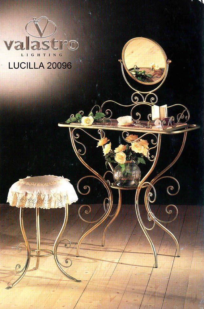 Lucilla Cod.20096_ B70–Valastro Consola Toilette taburete y espejo Hierro forjado Muebles–Producto de Italia de valastrolighting