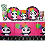 Panda-Monium Party Supplies Pack for 16 Guests Includes: Straws, Dinner Plates, Luncheon Napkins, Cups, and Tablecover (Bundle for 16)