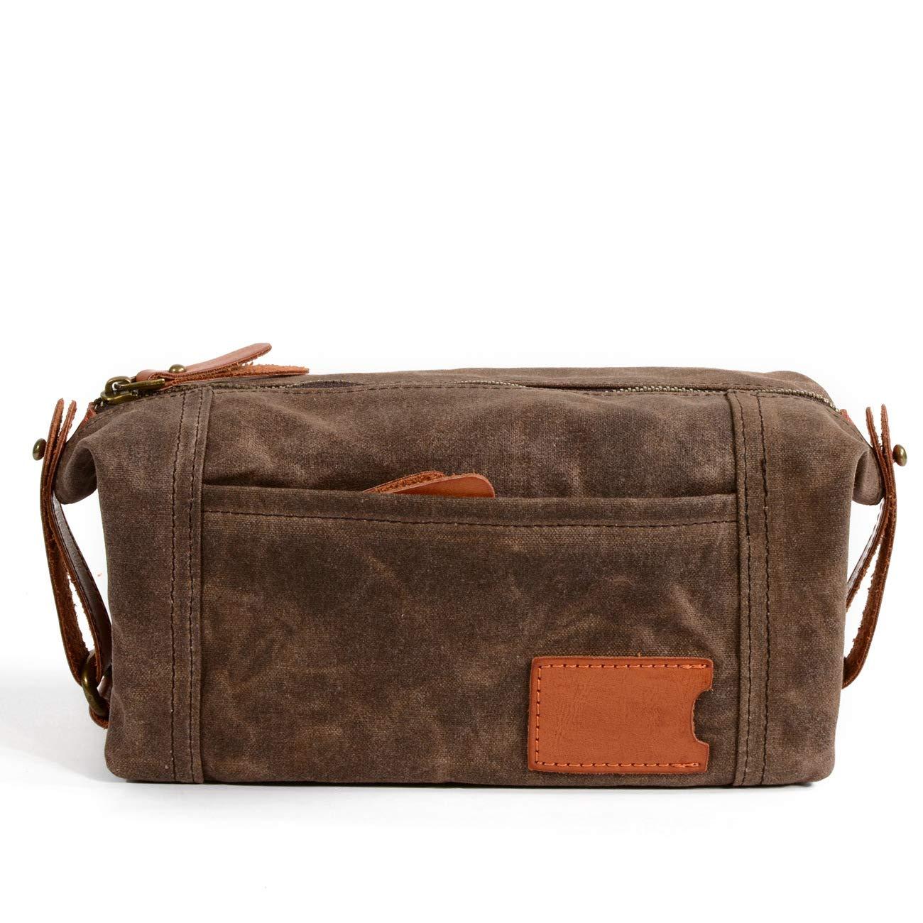 Multifunction Wax Canvas and Leather Bag,wash Bag,Travel wallet6111 Dark Grey