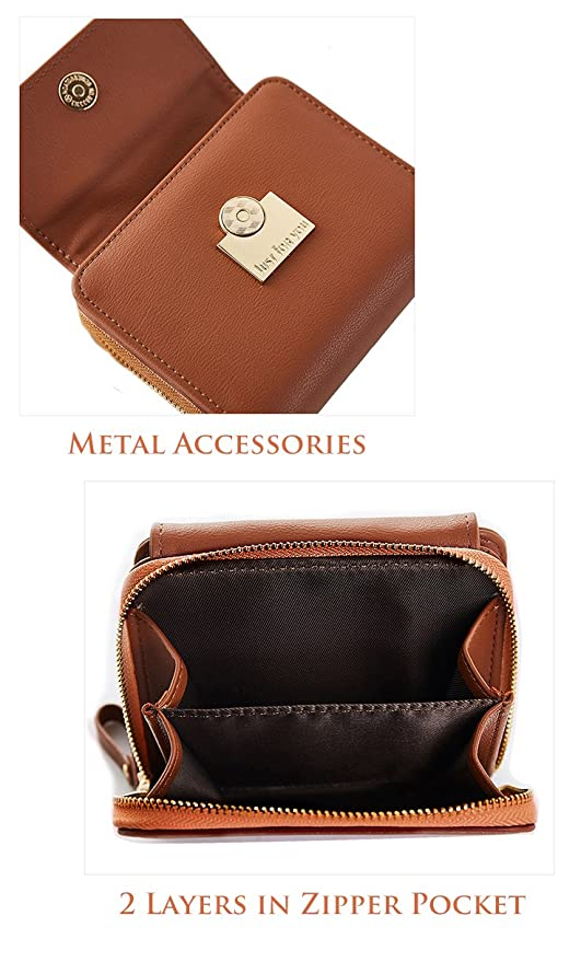 79785953a Amazon.com: Compact Bifold Leather Pocket Zipper Around Wallet Mini Purse  Ladies Elegant Clutch Card Coin Pouch Winered: Feng Inc