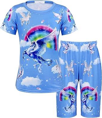 AmzBarley Unicornio Pijamas Niños Niñas Ropa de Dormir Halloween Cosplay