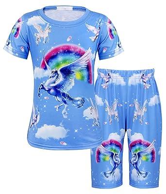 27435e6f37 AmzBarley Girls Unicorn Pyjamas Rainbow PJS Pajama Set Sleepwear Kids  Childs Cotton Sleeping Outfit Costume Sleepsuit Sleep Clothes   Amazon.co.uk  Clothing