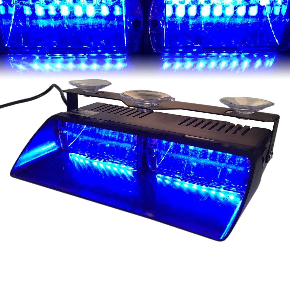 T Tocas(tm) 12V 16 LED Voiture Intérieur de haute intensité à Bleu LED Balise Feu de détresse LED Flash Stroboscope Clignotant Lampe urgente pour véhicules automobiles Camions SUV Inté