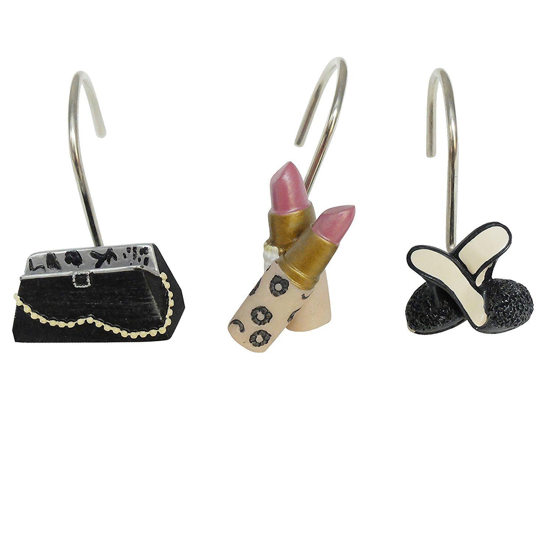 Lovehouse Home Decorative Handbag High-heel Shoes Lipsticks Rounds Resin Shower Curtain Hook Rings-12 PCS- Set of 12