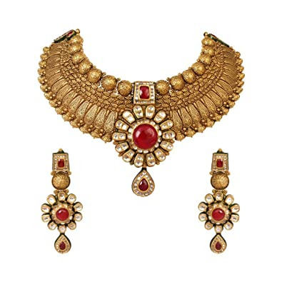 fd7c5cf81660 Buy WHP Jewellers Wedding Collection 22k (916) Yellow Gold and Ruby  Jewellery Set Online at Low Prices in India | Amazon Jewellery Store -  Amazon.in