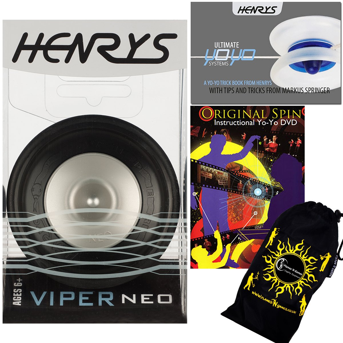 Henrys VIPER NEO Pro YoYo (Black) Professional Off String (1A, 4A) Bearing YoYo +Instructional Booklet of Tricks + 75 Yo-Yo Tricks DVD! & Travel Bag! Top Of The Range YoYo! Pro YoYos For Kids and Adults!