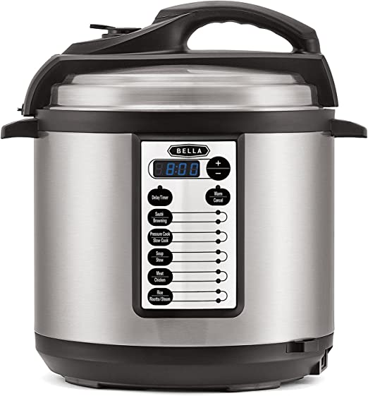 BELLA BLA14467 M-60B23G (14467) 10-In-1 Multi-Use Programmable 6 Quart Pressure, Slow, Rice Cooker, Steamer, Sauté Warmer with Searing & Browning ...