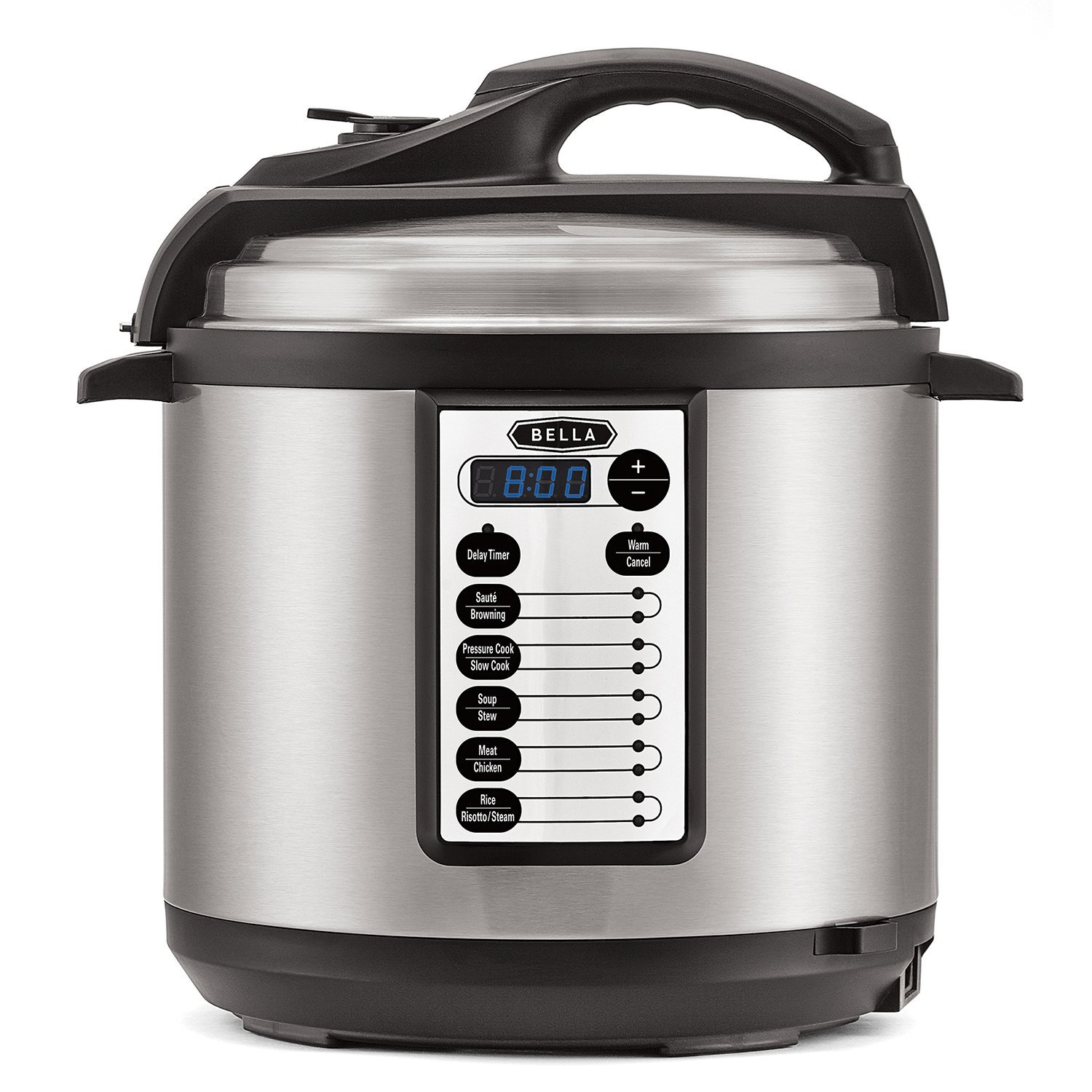BELLA 6 Quart 10-In-1 Multi-Use Programmable Pressure Cooker, Slow Cooker, Rice Cooker, Steamer, Sauté Warmer with Searing & Browning Feature, 1000 Watts (14467) BLA14467