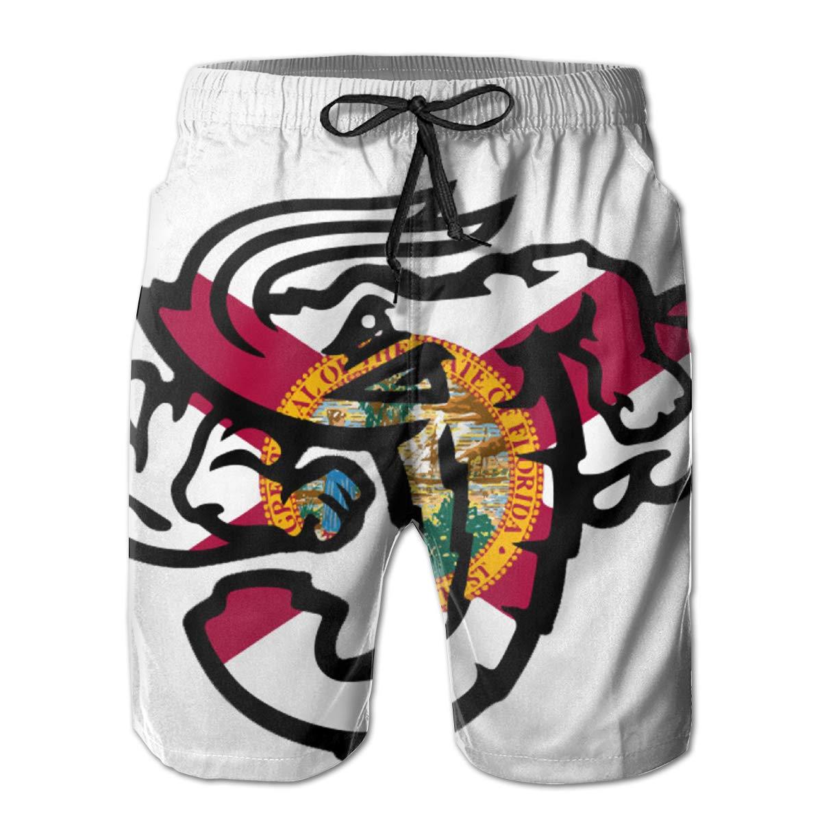HZamora/_H Mens Jacksonville Jumbo Shrimp Florida Flag Summer Breathable Quick-Drying Swim Trunks Beach Shorts Cargo Shorts L