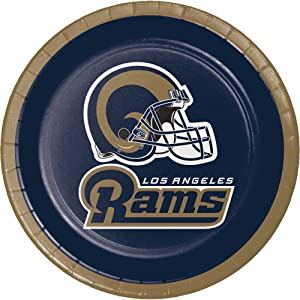 Creative Converting Officially Licensed NFL Dessert Paper Plates, 96-Count, Los Angeles Rams