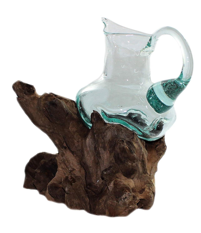 Budawi- Teakholz mit Glas Windlicht (Weinkanne), Stimmungsleuchte Dekanter, Deko-Glas mit Teakholz
