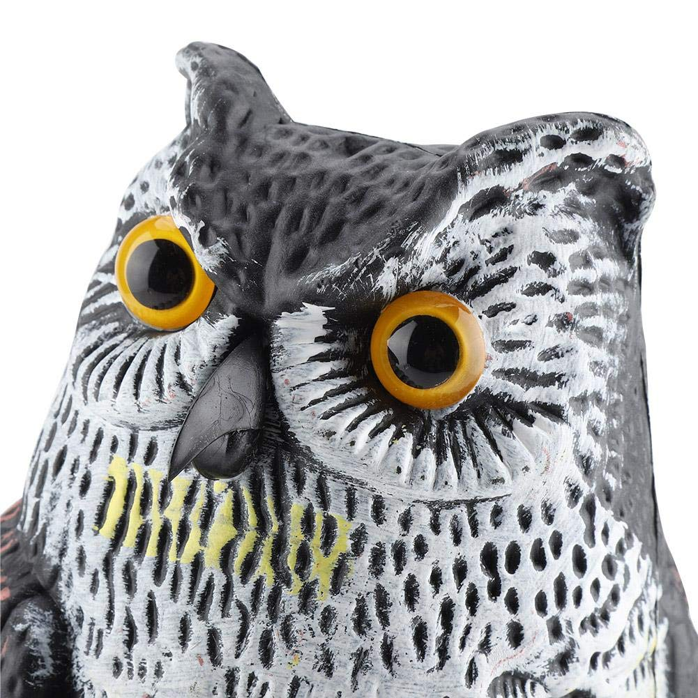 Haofy Prowler Owl Premium Uccello repellente Fake Owl Occhi lampeggianti e suono spaventoso Fake spaventapasseri Predator Decoy Pest Scare Scoiattolo Uccelli e roditori Decorazione del giardino