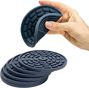 Silicone Absorbent Coasters for Drinks Set of 6. Non-Slip Heat-Resistant Bar Coasters. Full Tabletop Protection for Stone Wood Granite Glass Marble Surfaces. Cup Mat (Navy Blue)