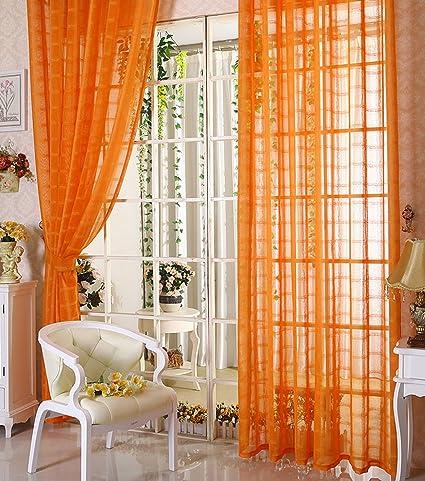 33a76aee34c Amazon.com  Aside Bside Simple Plaid Stripes Sheer Curtains Window ...
