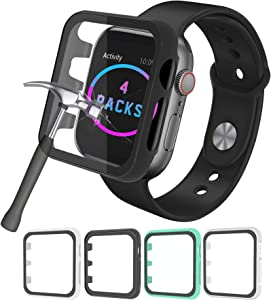 MZDXJ [4-Pack] Hard PC Case with Tempered Glass Screen Protector Compatible for Apple Watch Series 6 5 4 3 2 SE HD Ultra-Thin Cover for 38/40/42/44mm Blue/White/Black/Clear