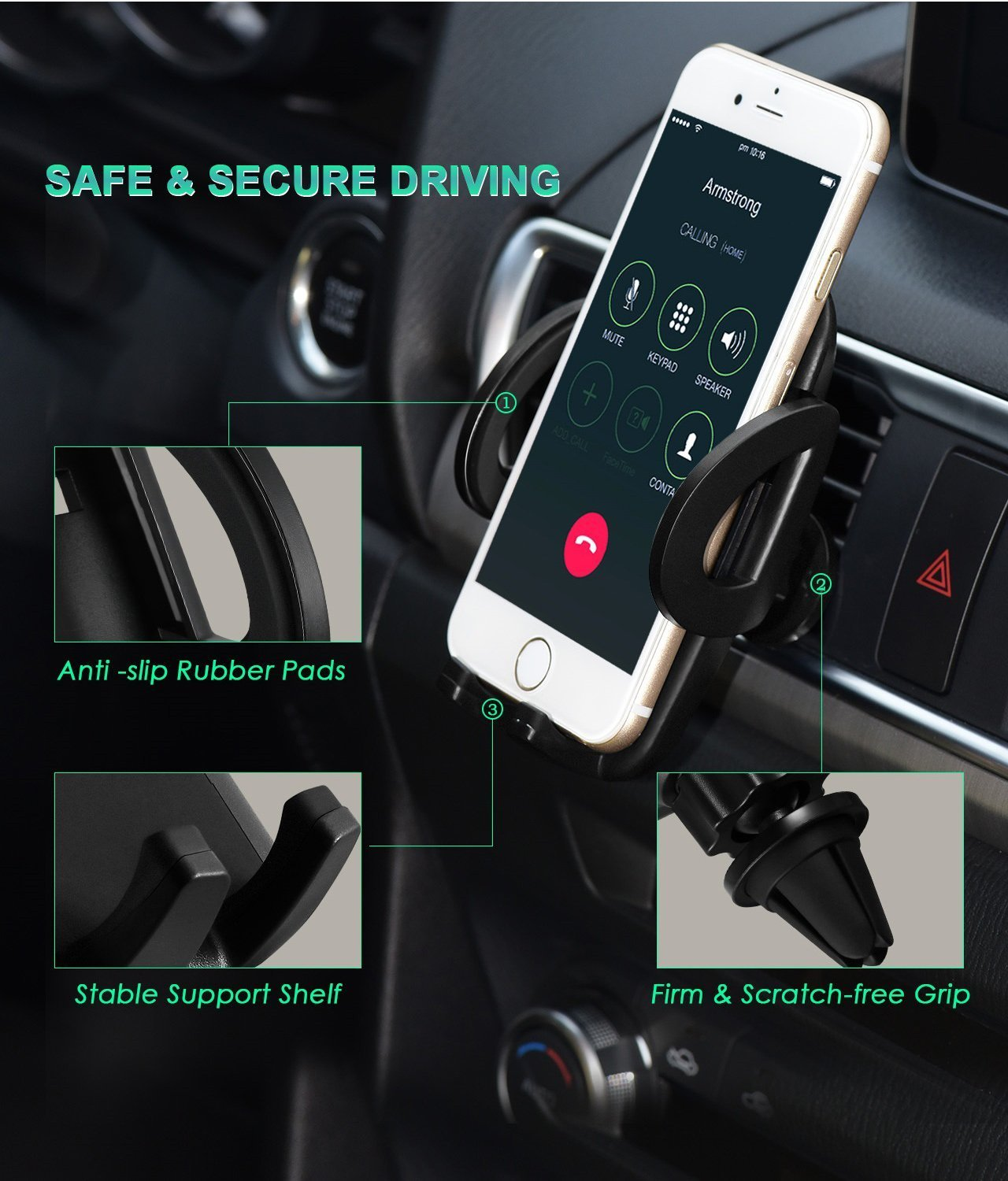 Coding Phone Holder for car Air Vent Phone Holder for Mobile Phones Car Phone Mount,Air Vent Mount Holder for iPhone X//8//8Plus,Galaxy S9//S9+ S8//S8+,Google,LG,HTC and More Smartphones Grey