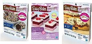 InterC Set of 3 Easy-Bake Oven Mixes Refills , one Each: Pizza, Chocolate Truffles, Red Velvet & Strawberry Cakes