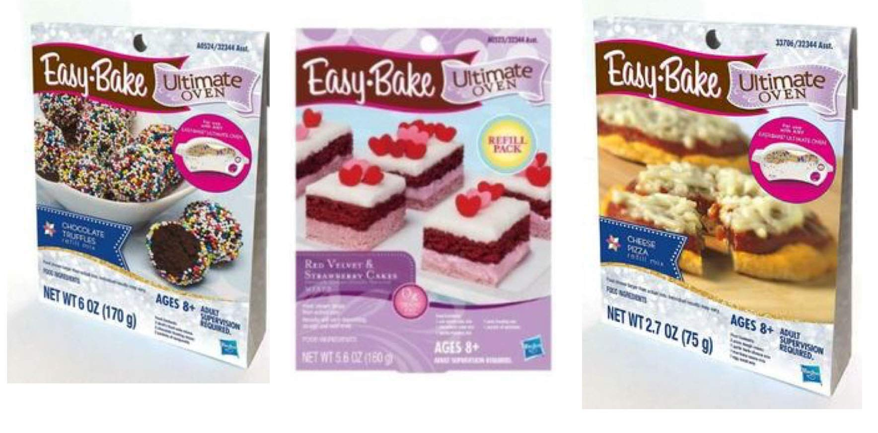 InterC Set of 3 Easy-Bake Oven Mixes Refills , one Each: Pizza, Chocolate Truffles, Red Velvet & Strawberry Cakes by InterC