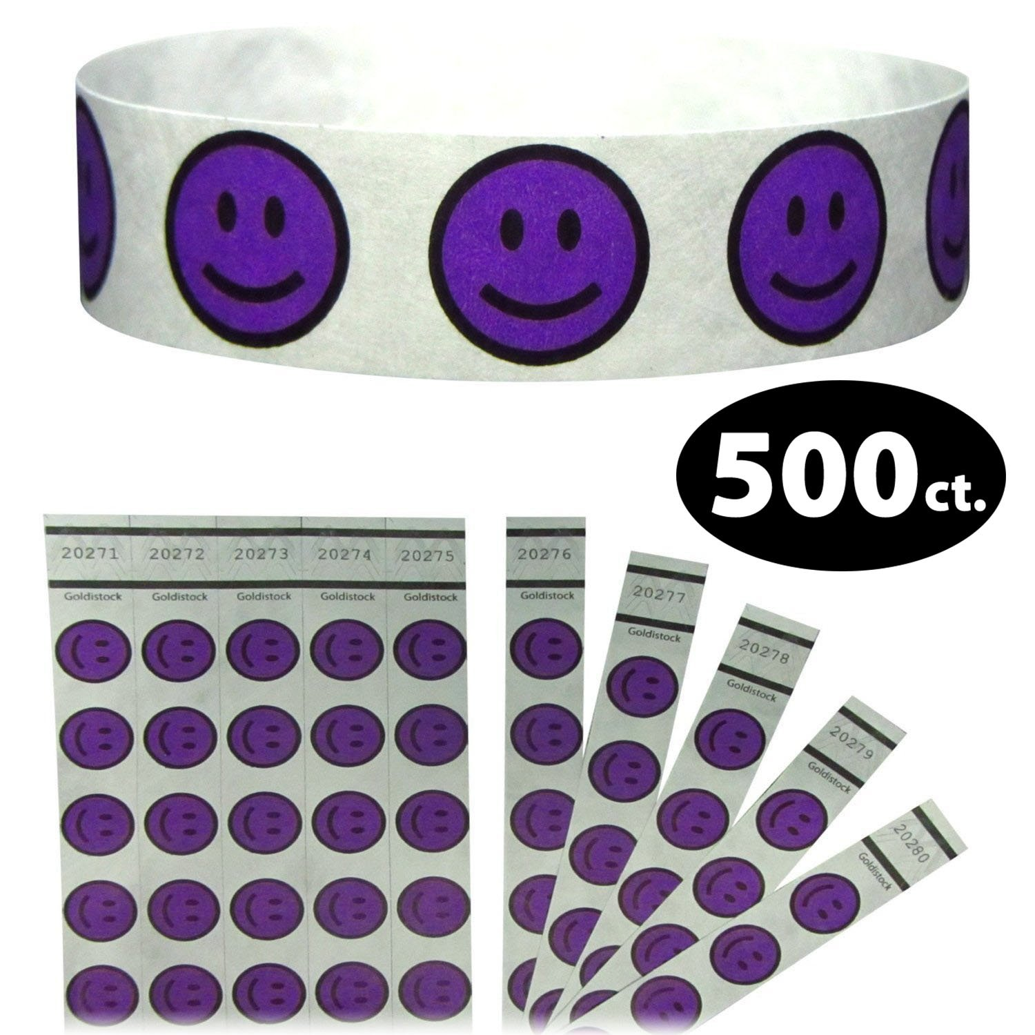 Goldistock 3//4 Tyvek Wristbands Happy Smiley Face Paper - Like Texture Neon Red 500 Count Event Identification Bands