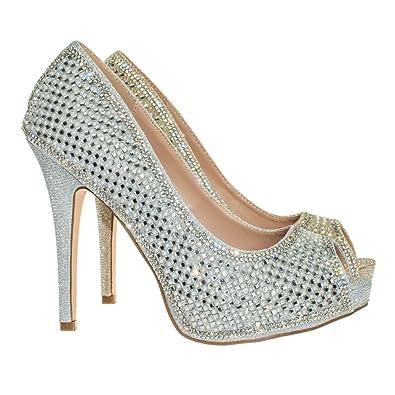 237dbf042f8 Blossom Rhinestone Crystal Pearl Embelish Peep Toe High Heel Bridal Party  Pump