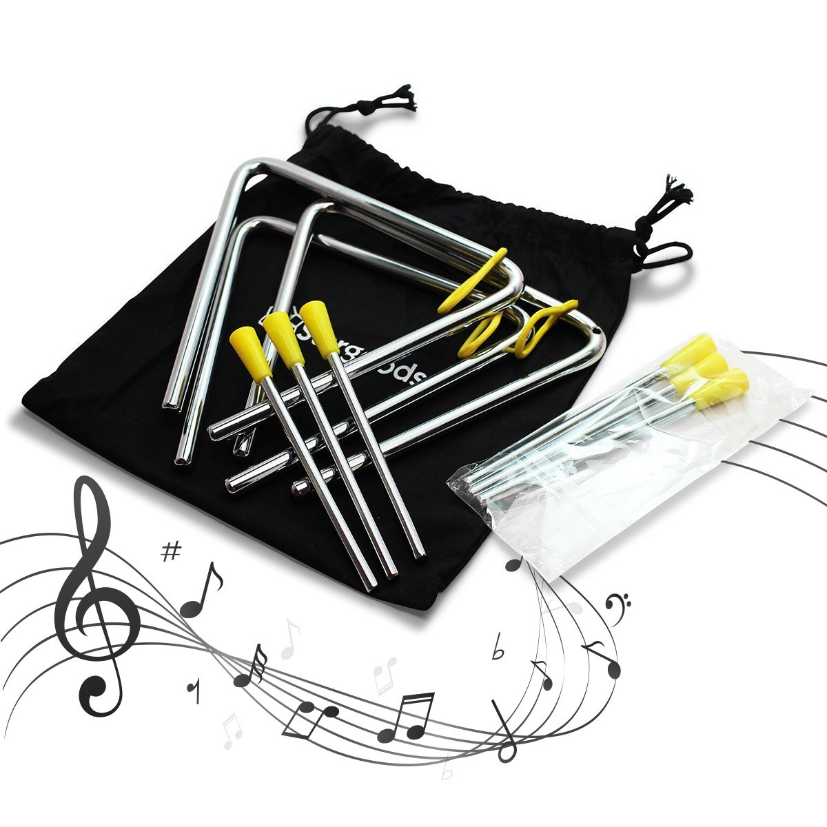 Stargoods Music Triangles with Metal beaters + 3 extra sticks (Set of 3)