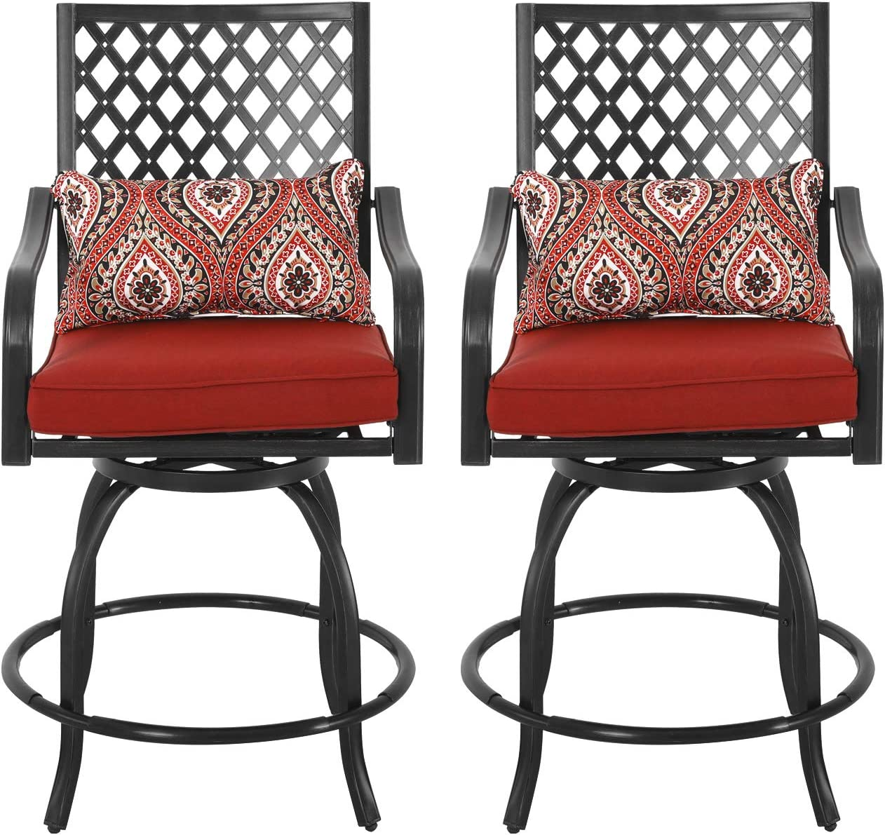 Nuu Garden 2 Piece Outdoor Swivel Patio Chairs, Wrought Iron Patio Furniture Set, Bistro Chairs Set of 2 with Cushions and Pillows – Black, Red