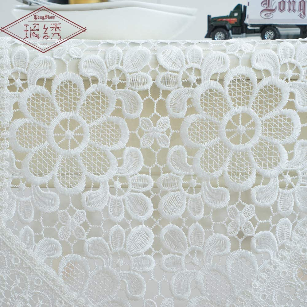 BaronHong Runner//Overlay per Romantico Arredamento da tavola Bianco Ricamo Floreale Scava Fuori Bianco, 40 * 180 cm