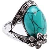 Cafa Flower Style Green Synthetic-Turquoise Fashion Women's Ring Jewelry
