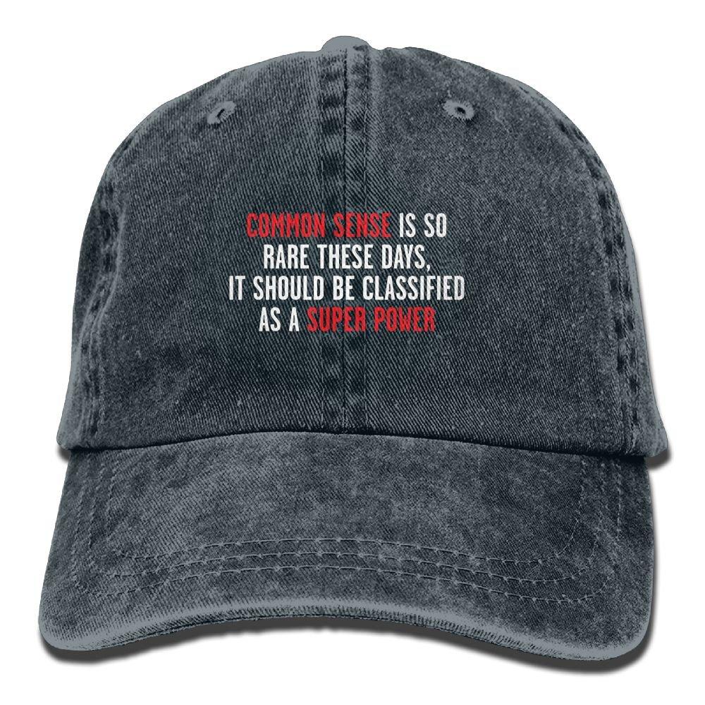 Common Sense is So Rare Plain Adjustable Cowboy Cap Denim Hat for Women and Men