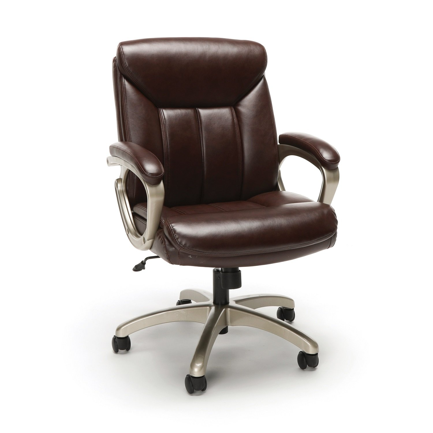 Essentials Leather Executive Chair - Ergonomic Swivel Computer Chair with Arms, Brown (ESS-6020-BRN)
