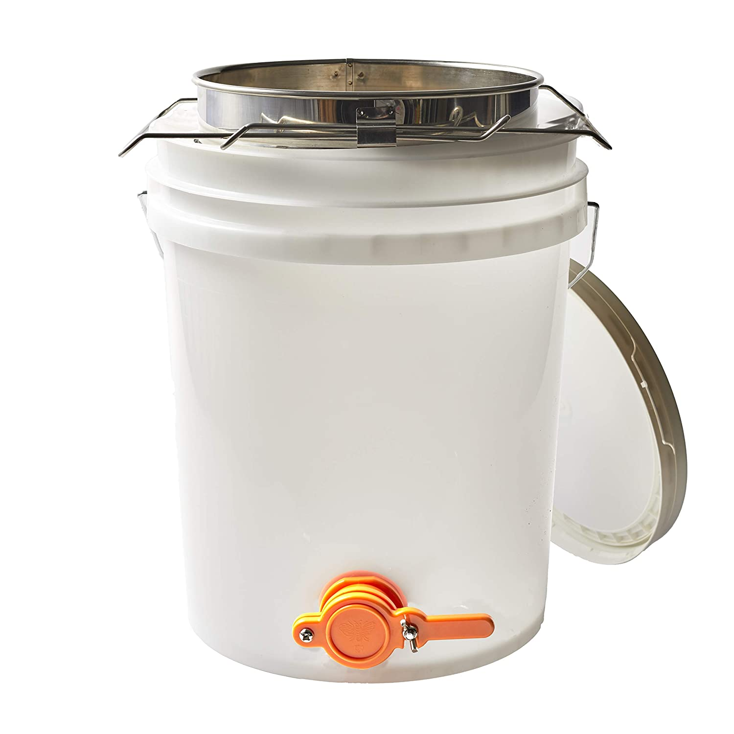 5 Gallon Beekeeping Honey Bucket Made with Food Grade Transparent Plastic, Bottling Valve, Stainless Steel Double Honey Strainer with Coarse and Fine Metal Filter, and Two Adjustable Mesh Strainers