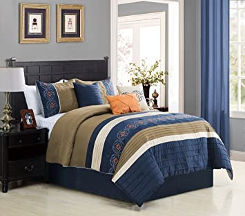 Amazon.com: 7 Piece Bedding set, Navy Blue, Beige, Taupe ...