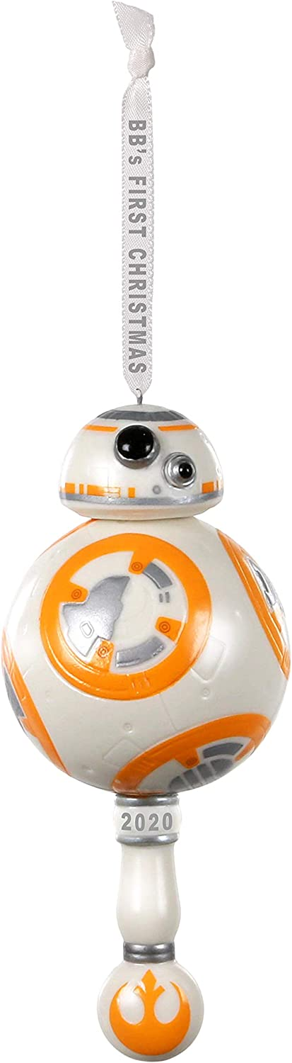 Hallmark Keepsake Ornament 2020 Year-Dated, Star Wars BB-8 Baby's First Christmas, Porcelain With Rattle