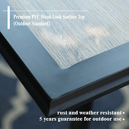 PHI VILLA Metal 60 x 37 Large Wooden Top Patio Dining Table Rectangular Backyard Bistro Umbrella Table Outdoor Furniture Garden Table, 1.56 Umbrella Hole, Classic Burlywood