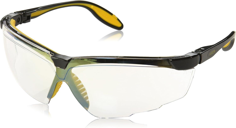 Uvex S3524 Genesis X2 Safety Eyewear, Black and Yellow Frame, SCT-Reflect 50 Ultra-Dura Hardcoat Lens