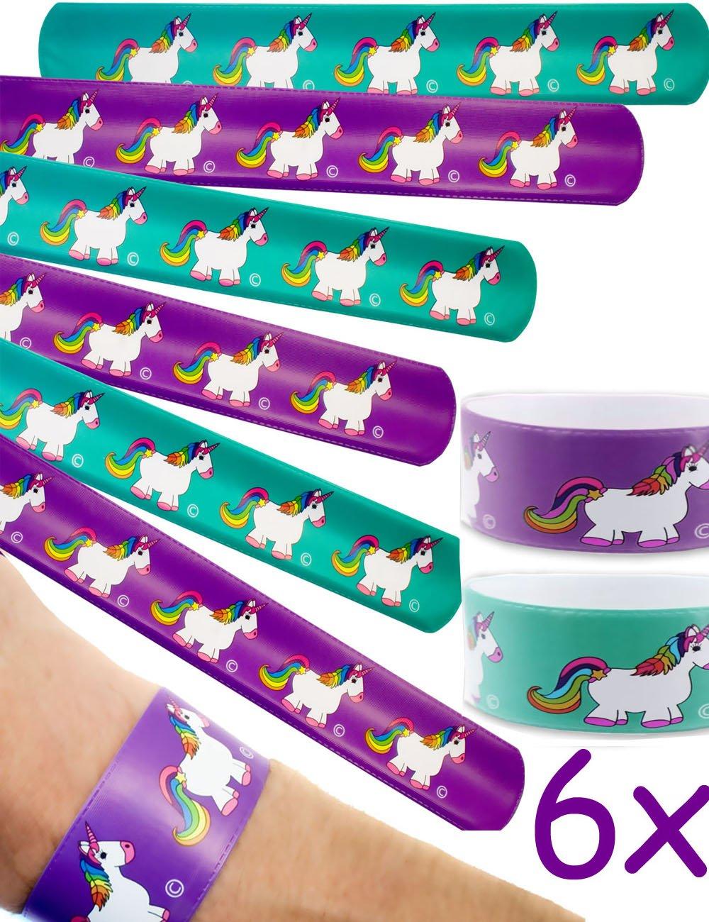 HOMETOOLS.EU - 6er Set Einhorn Armbänder | Schnapparmbänder für Party Kindergeburtstag | 6er Set HT-FN-SAB6