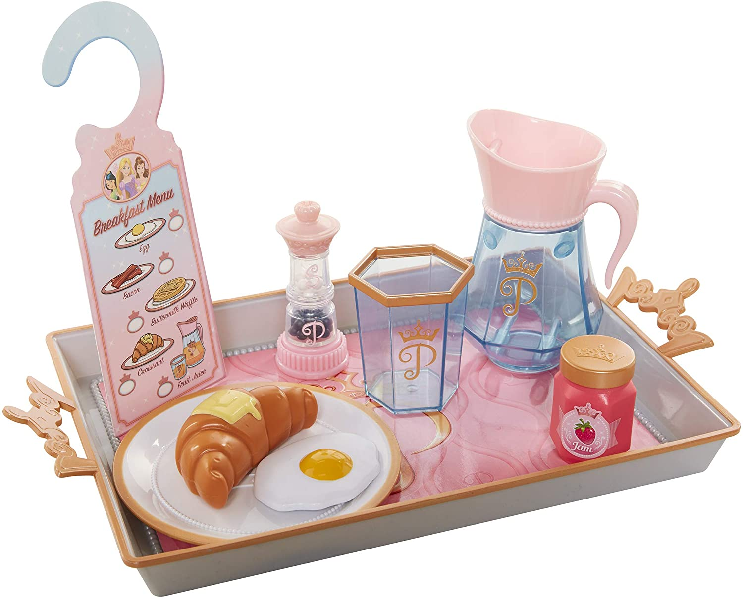 Disney Princess Style Collection Room Service Pretend Play Toy Set - with Serving Tray, Plate Cover, Pitcher & More for A Great Pretend Travel Experience - Girls Ages 3+