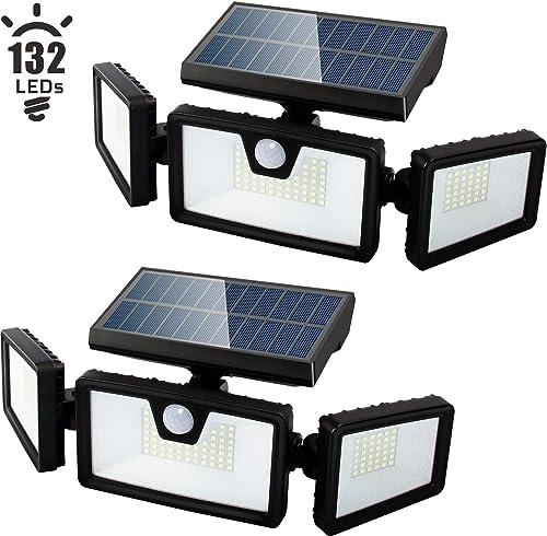 Otdair Solar Security Lights, 3 Head Adjustable Motion Sensor Lights 132LED Flood Lights Outdoor Spotlights 360 Rotatable IP65 Waterproof for Garden Patio Yard Porch Garage Pathway
