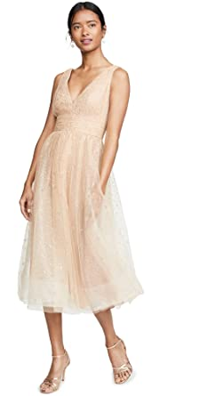 65eaf24c Marchesa Notte Women's V Neck Tulle Glitter Gown at Amazon Women's Clothing  store: