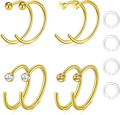 Zolure 20 Gauge 10mm Nose Ring Piercings Clear Nose Retainers Nose