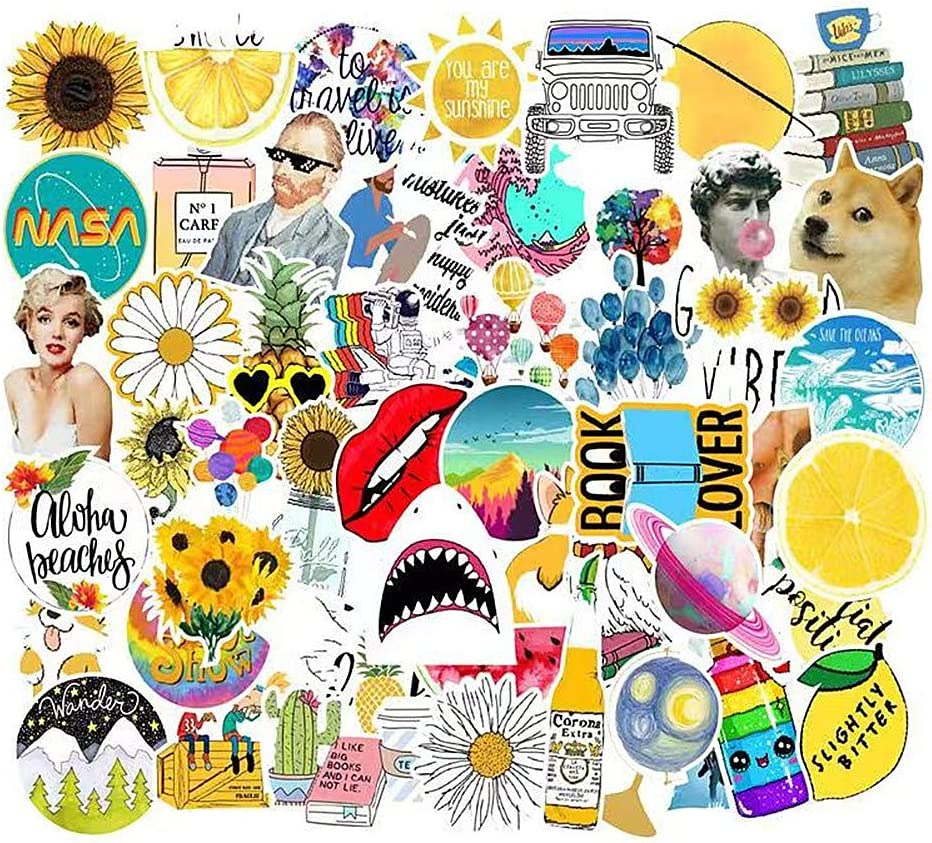 Jasion 53-Pcs Vinyl Yellow Stickers Waterproof Cute Lovely Girls Teens Aesthetic Trendy Summer Graffiti Decals for Water Bottles Cars Motorcycle Skateboard Portable Luggages Ipad Laptops