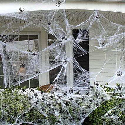 fly2sky 100pcs halloween spiders 300sqft halloween decorations web fake spiders web decorations for indoor outdoor dcor