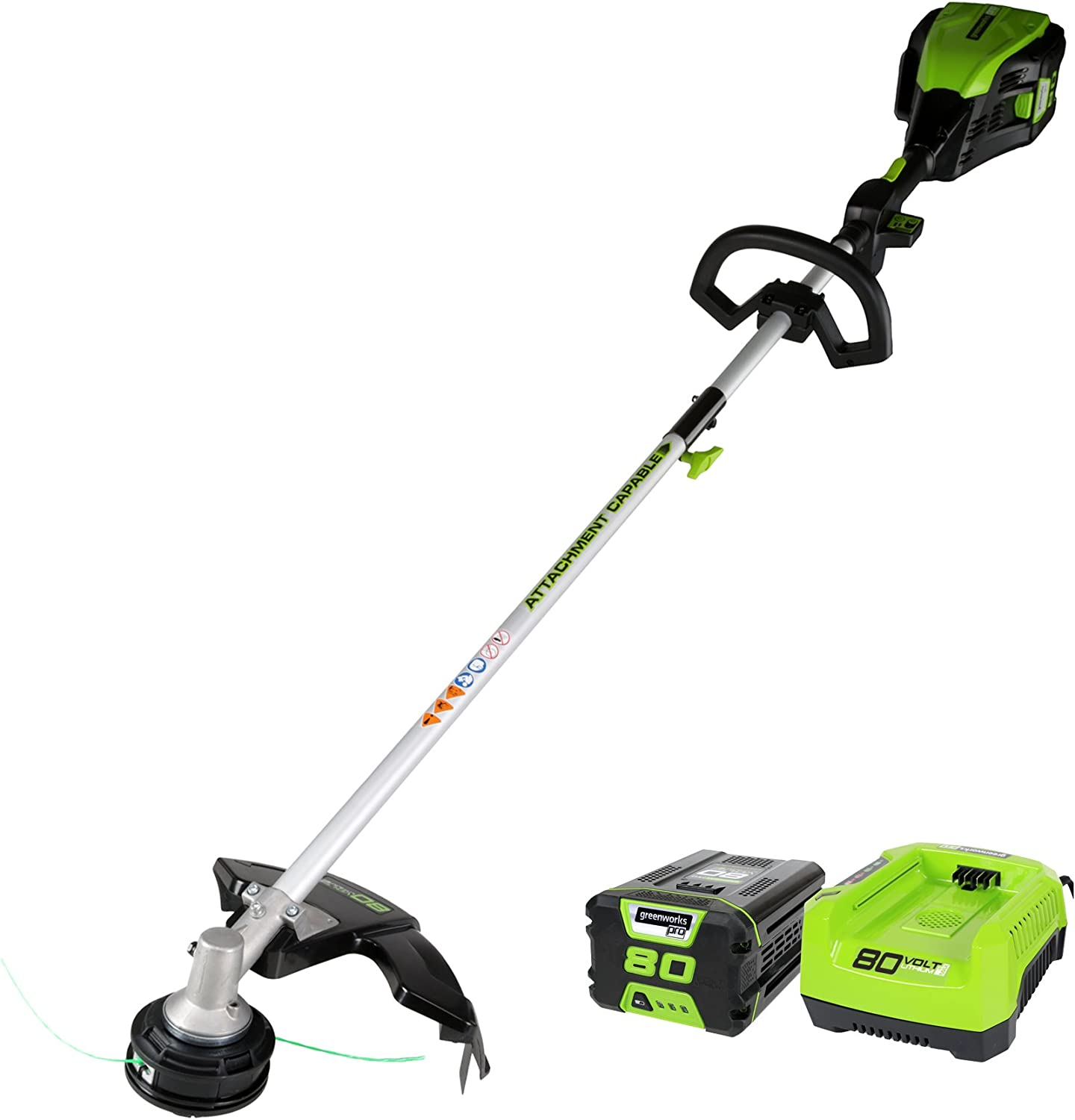 GreenWorks Pro 80V 16-Inch Cordless String Trimmer Attachment Capable , 2Ah Battery and Charger Included