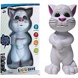 Vivir Plastic Touching Talking Tom Cat Toy For Kids (White/ Medium)