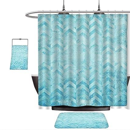 Amazon QINYAN Home Print Bathroom Rugs Shower Curtain Turquoise